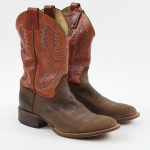 Justin Brown Red Square Toe Cowboy Western Boots 9